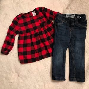 Red/Black buffalo check top. Old Navy jeans